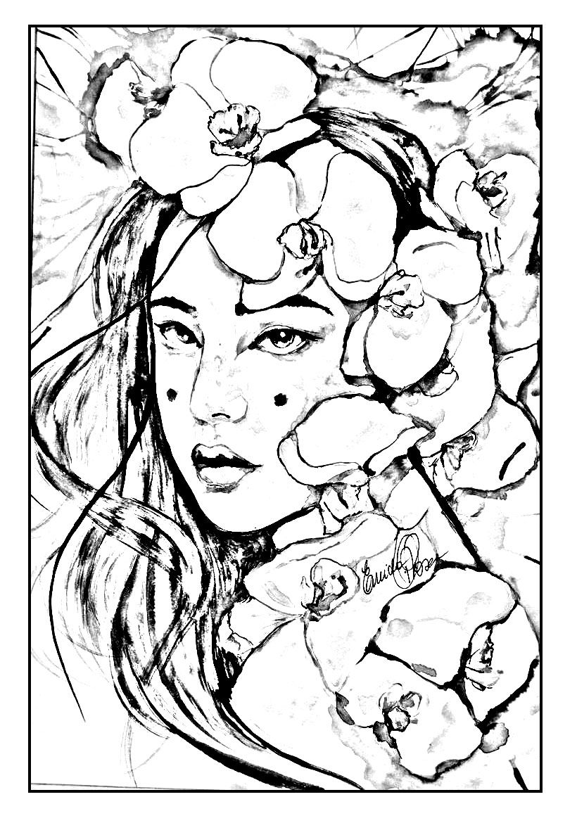 Free printable japanese coloring pages for adults - Japan Coloring Pages For Adults Coloring Geisha Japan To Print Page