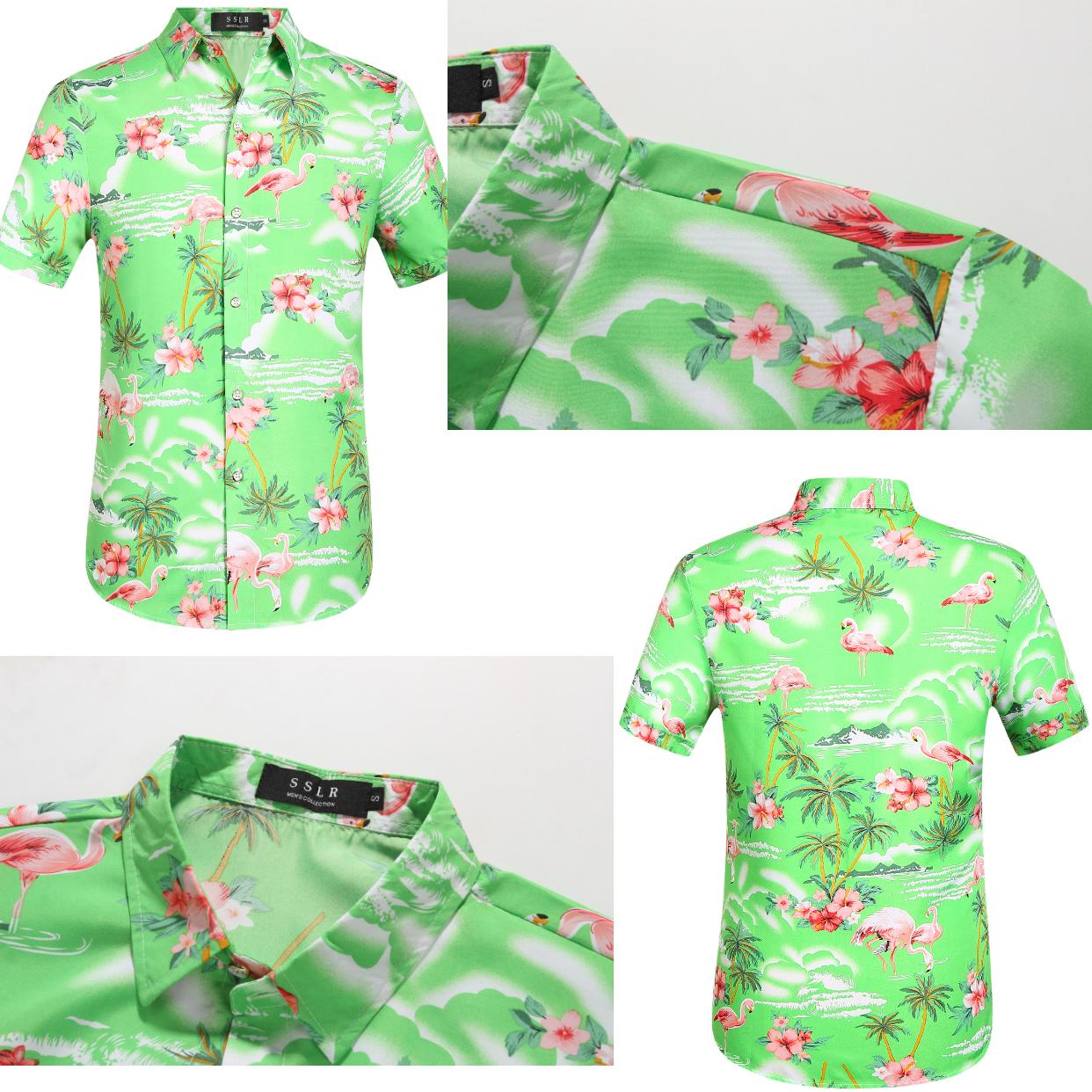 Flamingo Hawaiian Shirt Bright Green Style Tropical Flower Style Hawaiian Shirt Hawaiian Shirt Shirts Mens Hawaiian Shirts