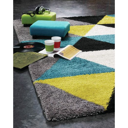 Kalora Maroq Triangles Area Rug With Images Lime Green Rug