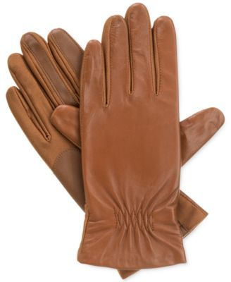 Isotoner Women's Stretch Leather SmarTouch® Gloves__ HEY! brown  leather gloves (light brown or tan) that might go well w my coat. honestly Black works too!