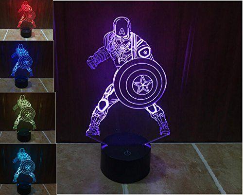 Superniudb Marvel Civil War Captain Soldier 3d Night Light Led Usb 7 Color Change Led Table Lamp Xmas Toy Gift Fo 3d Night Light Color Changing Led Xmas Toys