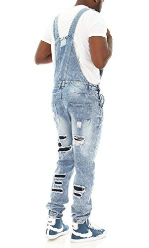 fa0b3203b11 Imperious Men s Rip and Repair Denim Overall Jogger Pants-Light Blue ...