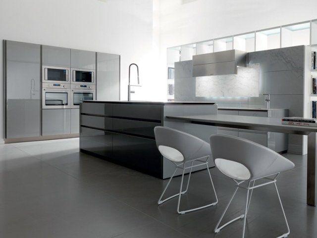 Cuisine Blanche Et Grise 30 Designs Modernes Et Elegants Cuisines Design Cuisine Design Moderne Placard Design