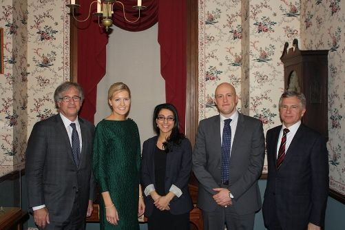 From left to right:  Alan H. Mark, President of The Advocate's Society (event organizer); Sarah Sullivan, third-year, English Common Law; Reem Zaia, second-year, English Common Law; Michael Purcell, Team Coach and Associate at Webber Schroeder Goldstein Abergel (Ottawa); John M. Buhlman, Partner, WeirFoulds LLP (event sponsor)