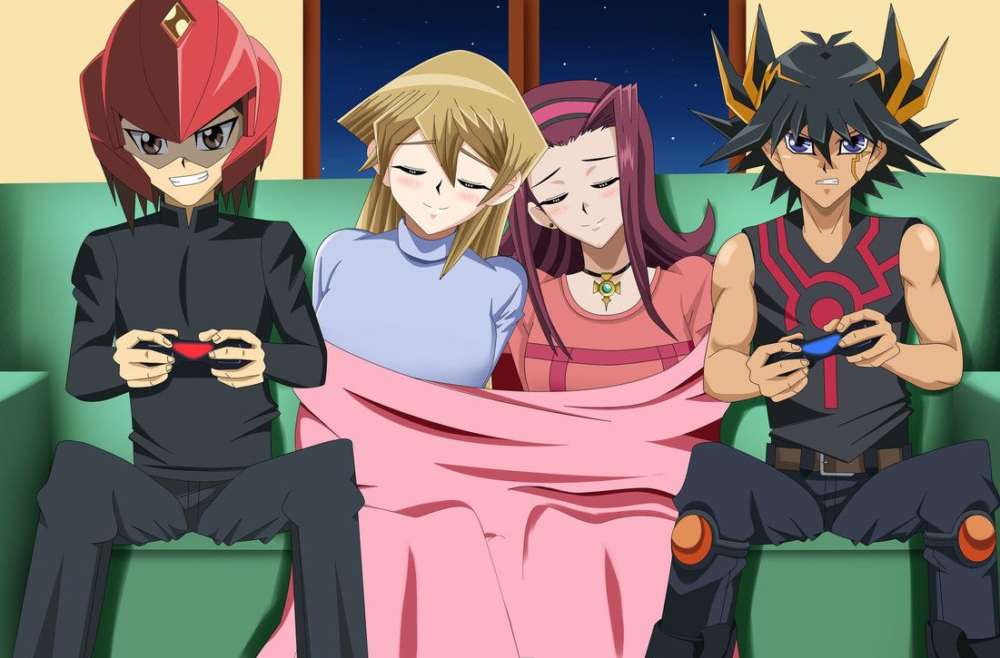 Ygo Cr Playing Videogames Jaden Yuki Judai With Winged Kuriboh And Alexis Rhodes Asuka Ten All Anime Characters Anime Wolf Girl Yugioh Monsters