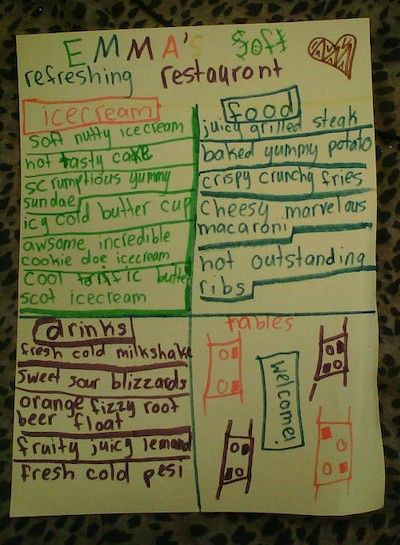 teaching adjectives students create a restaurant menu and must use