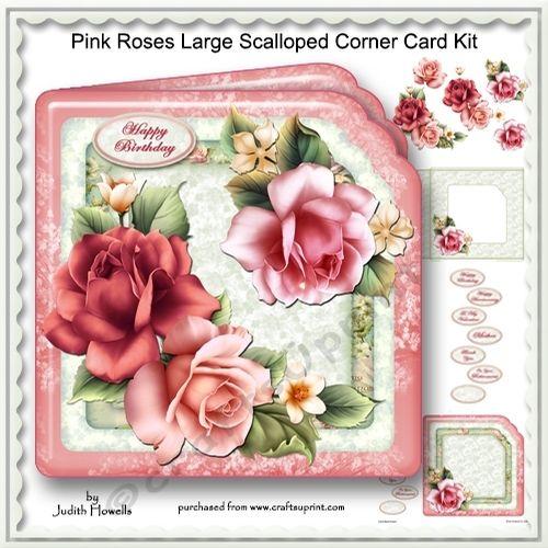 Pink Roses Large Scalloped Corner Card Kit - CUP698479_1065   Craftsuprint
