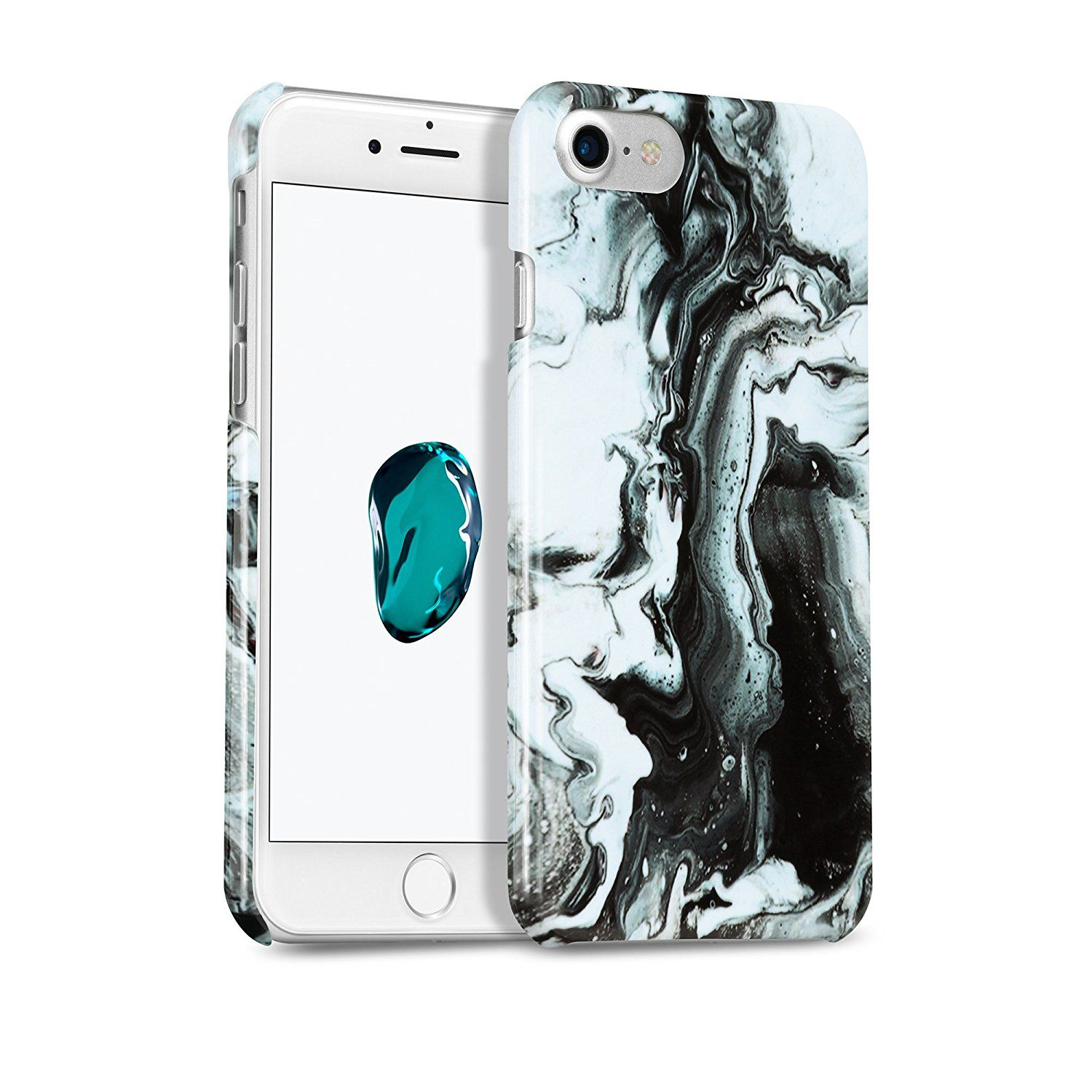 premium selection 6f281 c0fe2 iPhone 7 Case, iPhone 8 Case, GMYLE [Black Water Marble] Slim Glossy ...