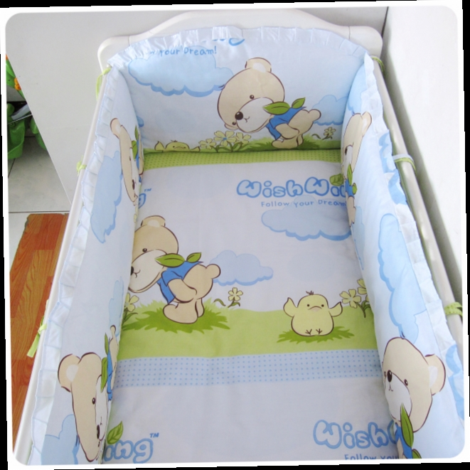 42.80$  Watch here - http://ali5jd.worldwells.pw/go.php?t=32520250797 - Promotion! 6PCS Baby cot bedding sets Bed set cot Bed linen for children bumpers Unisex children (bumpers+sheet+pillow cover) 42.80$