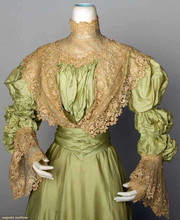GREEN SILK TEA DRESS, c. 1898  2-piece mint green China silk, chemical lace flounce trim on bodice & skirt