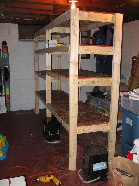 Cheap and Easy DIY Shelves for the Basement - How To Build Inexpensive Basement Storage Shelves - One Project
