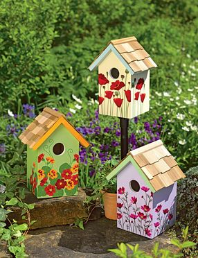 """Floral Print Birdhouses The 1-1/4"""" entrance holes attract common backyard birds like chickadees, nuthatches and finches."""