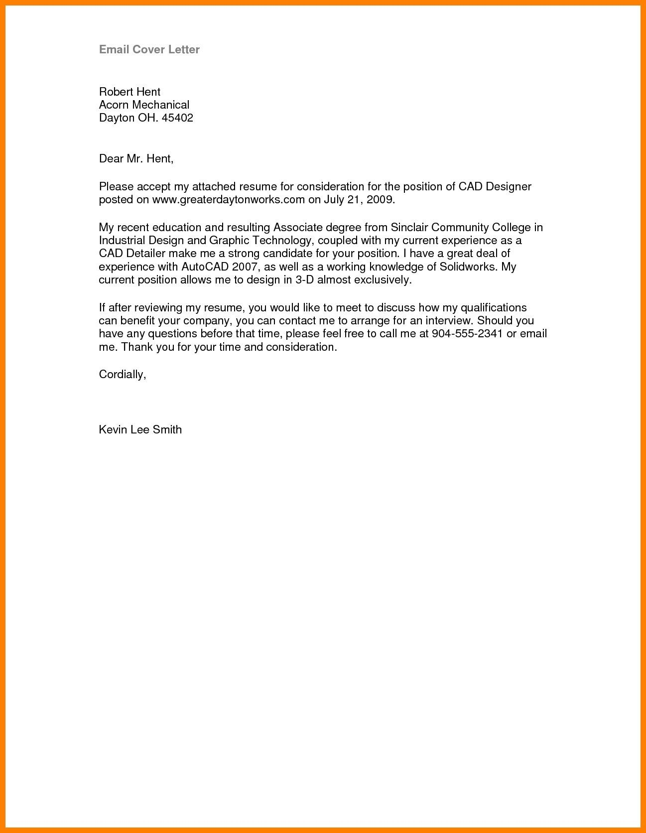 25 Email Cover Letter Sample Format Example Save Attachment New Resume Content