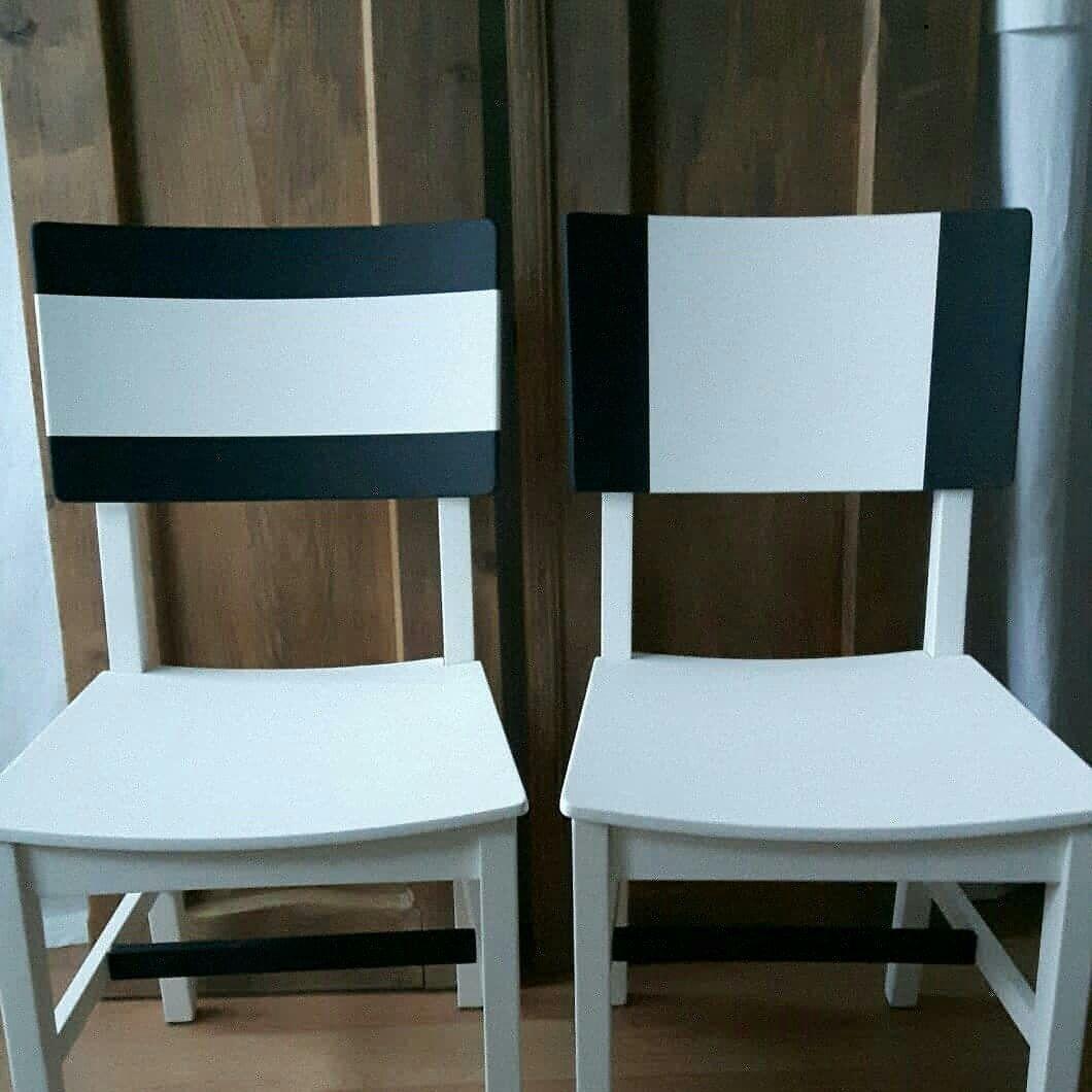 Schwarz Weiss Gestrichen Mit Kreidefarbe Haus Deko Stuhl Schwarz Stuhle