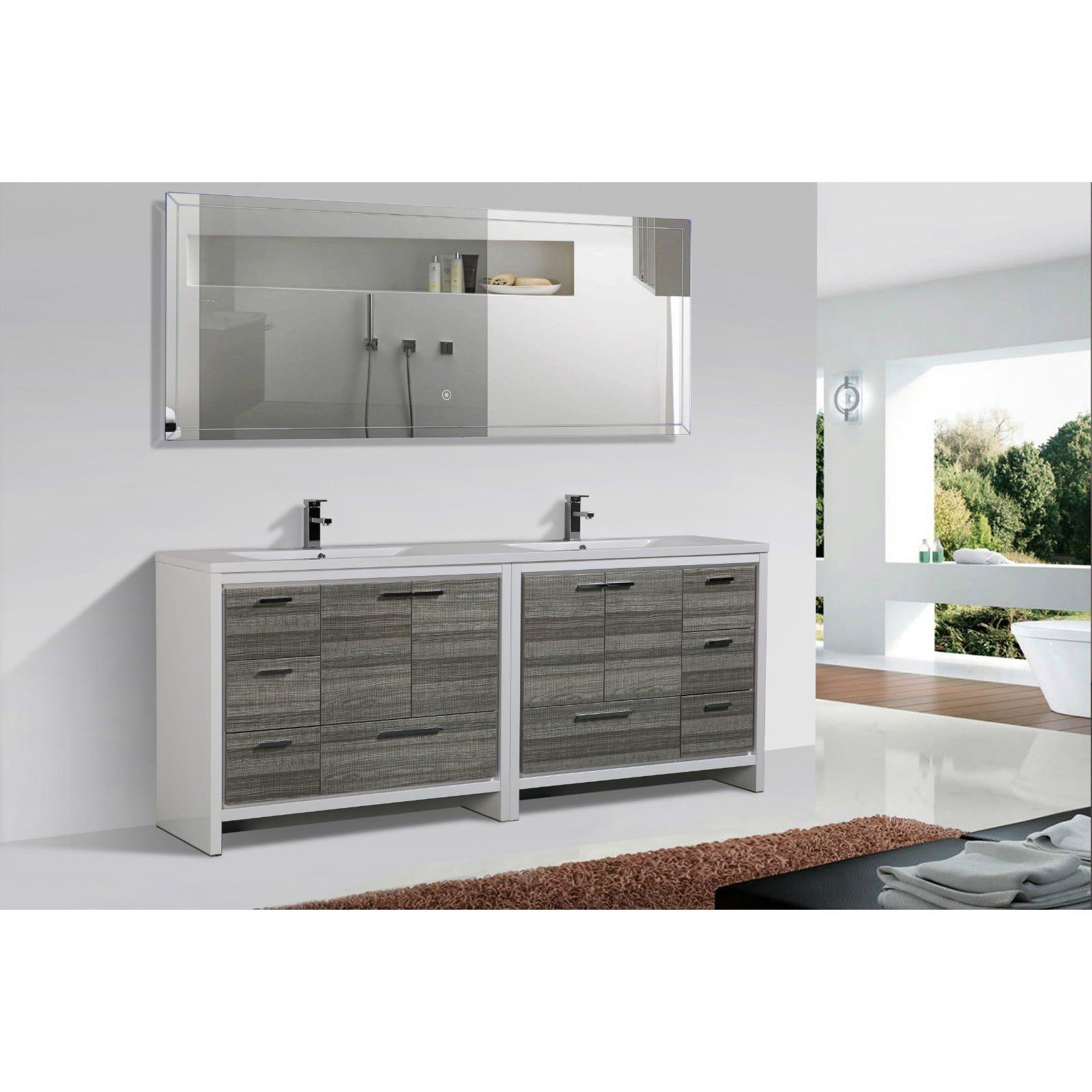 Moreno Mod White Acrylic Sink 84-inch Double Bathroom Vanity ...
