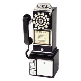 """Retro-style phone with a rotary-inspired dial and payphone accents.  Product: PayphoneConstruction Material: ThermoplasticColor: BlackFeatures:  Ringer on/off switchTone/pulse switchFunctional coin slot Dimensions: 18.25"""" H x 9"""" W x 6.5"""" DNote: Some assembly required"""