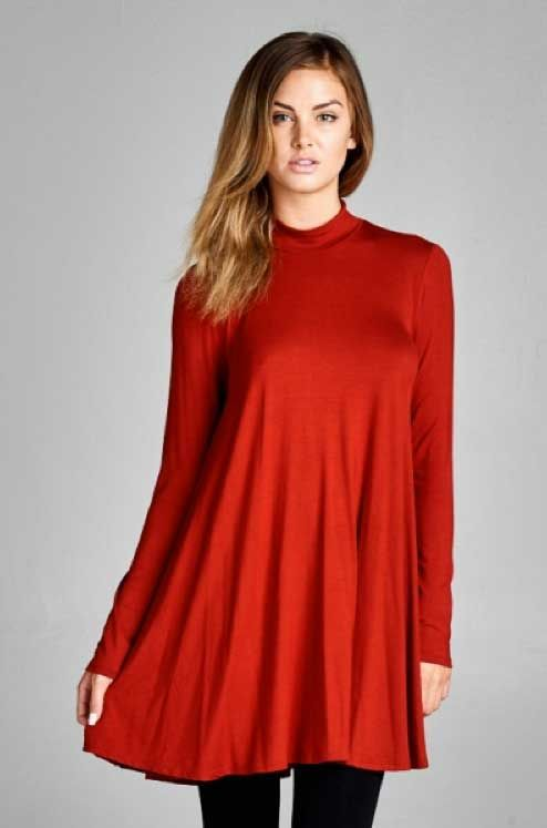Vanilla Bay Tunic Dress with Mock Neck in Red   Dress to Impress ...
