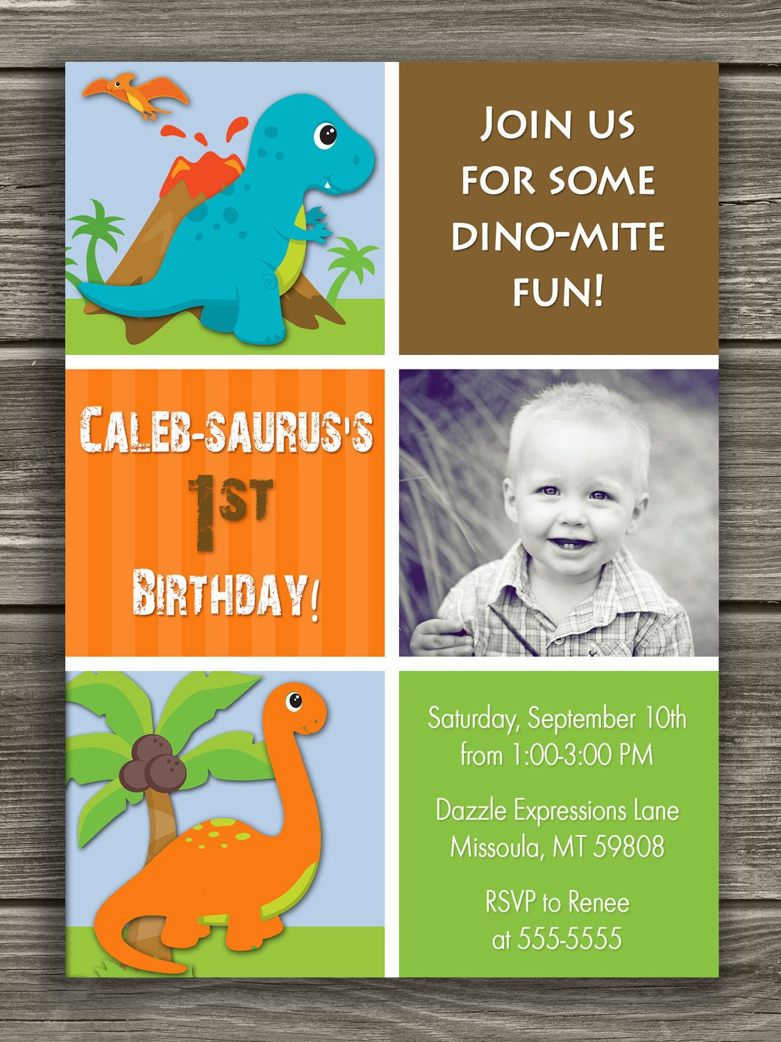 Dinosaur Birthday Invitation FREE thank you card included 1500