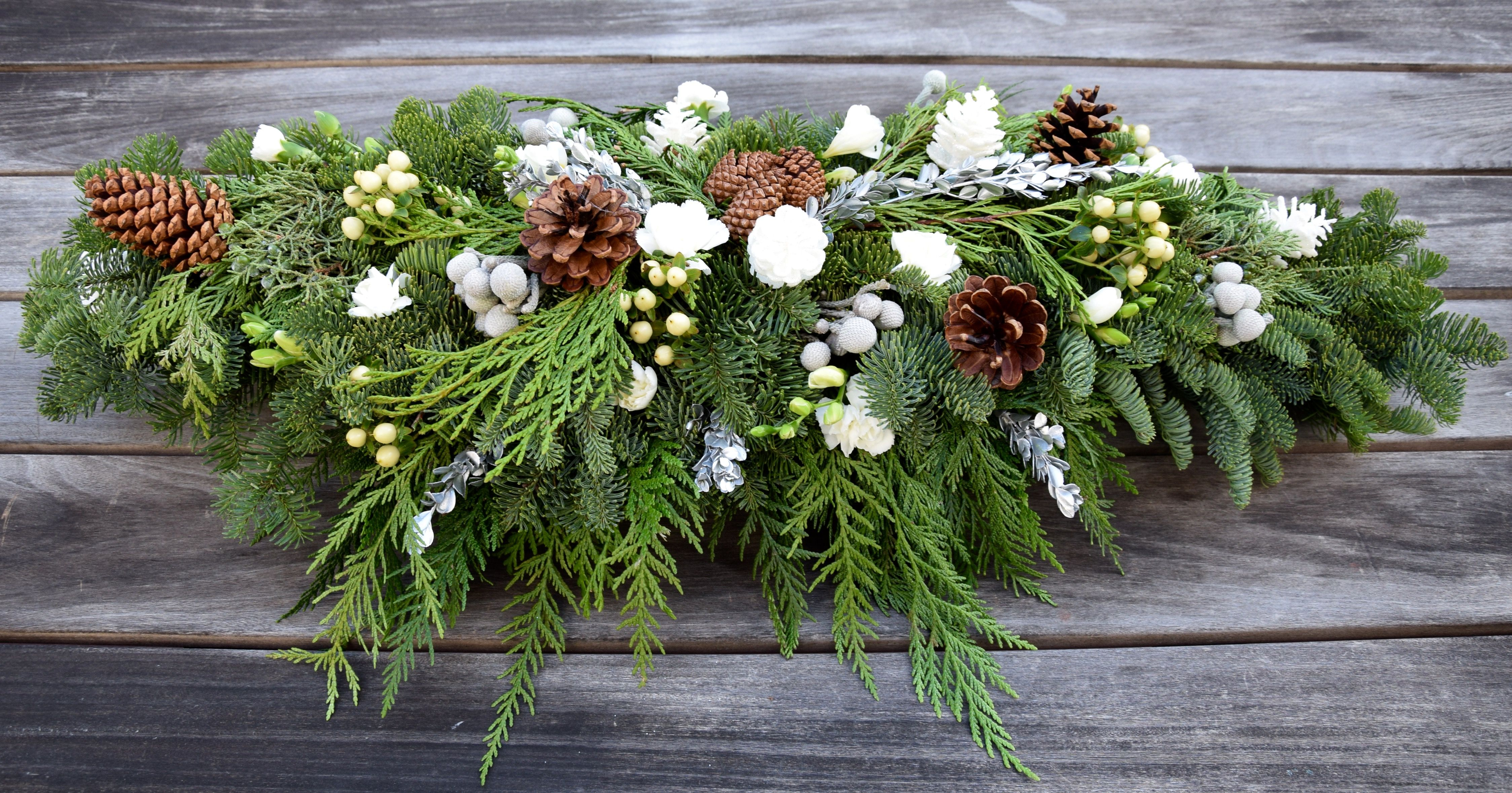 Unique Long Table Centerpiece For Christmas With Winter Greens Silk Whi Christmas Floral Arrangements Christmas Flower Arrangements Fresh Flowers Arrangements
