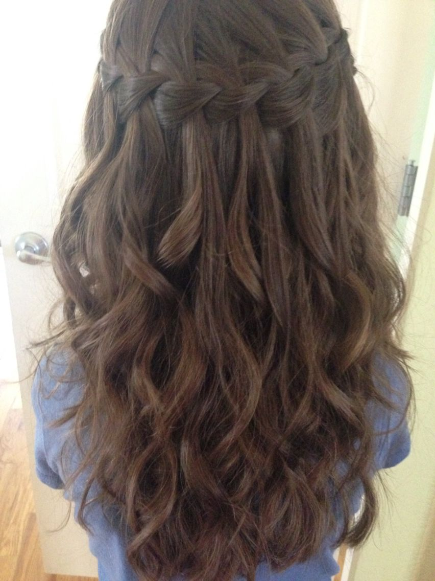 Waterfall braid on my niece with her next-day curls | Hair ...