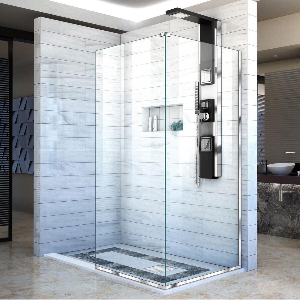 Dreamline Linea 30 In X 72 In H Semi Frameless Corner Fixed Shower Screen In Chrome Shdr 3230343 01 The Home Depot Shower Doors Black Shower Doors Shower Screen