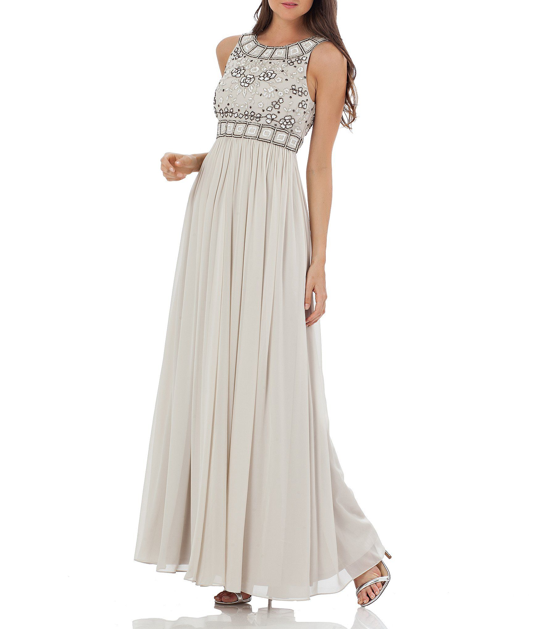 JS Collections Grecian Georgette Floral Beaded Gown | Dillards ...