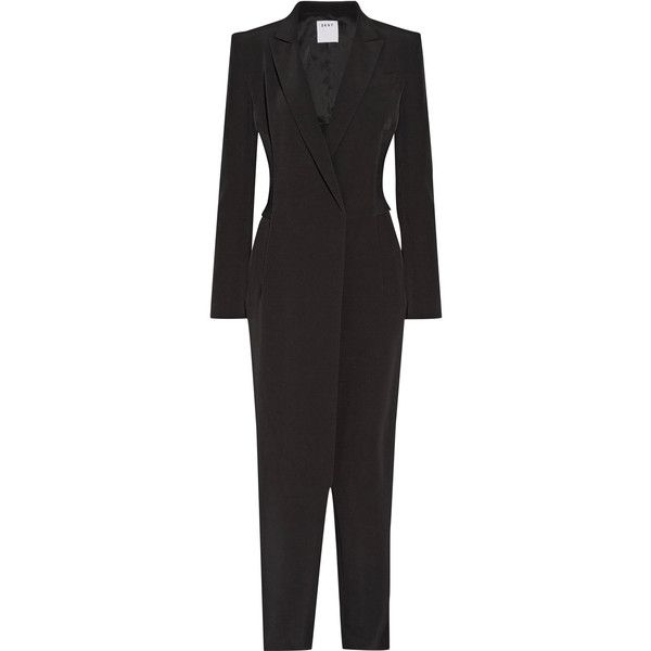 31adfe54535d DKNY Ribbed-knit paneled stretch-crepe jumpsuit ( 665) ❤ liked on Polyvore  featuring jumpsuits