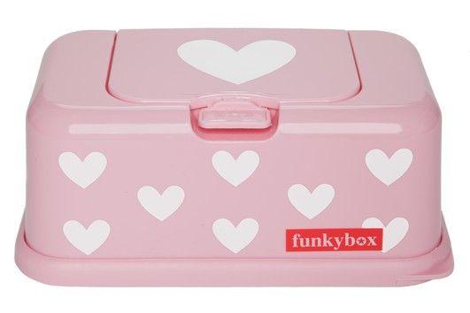 Normale funkybox in roze met witte hartjes