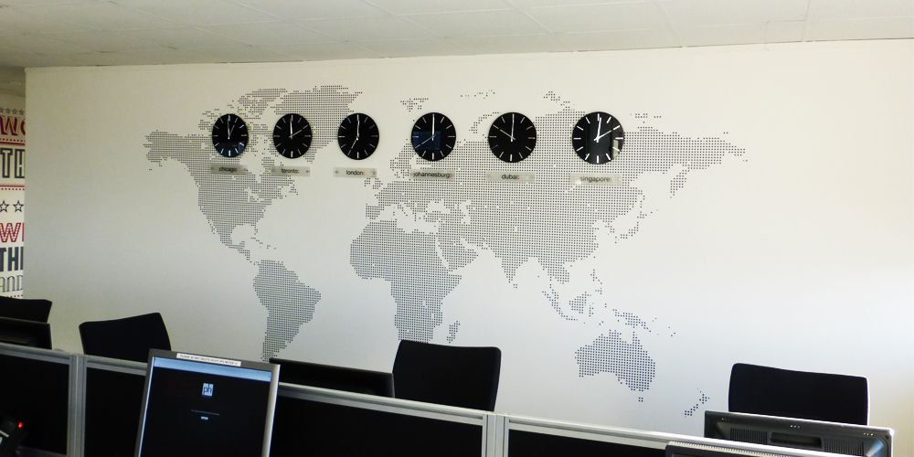 World map office wall mural installed with clocks and acrylic world map office wall mural installed with clocks and acrylic plaques showing time zones around the world this effecti wall mural was installed by gumiabroncs