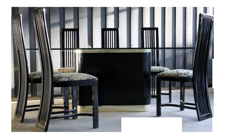 1980s Contemporary Pietro Constantini Black Lacquer Dining Table Chairs Set Of 7 Lacquer Dining Table Small Dining Table Italian Dining Table