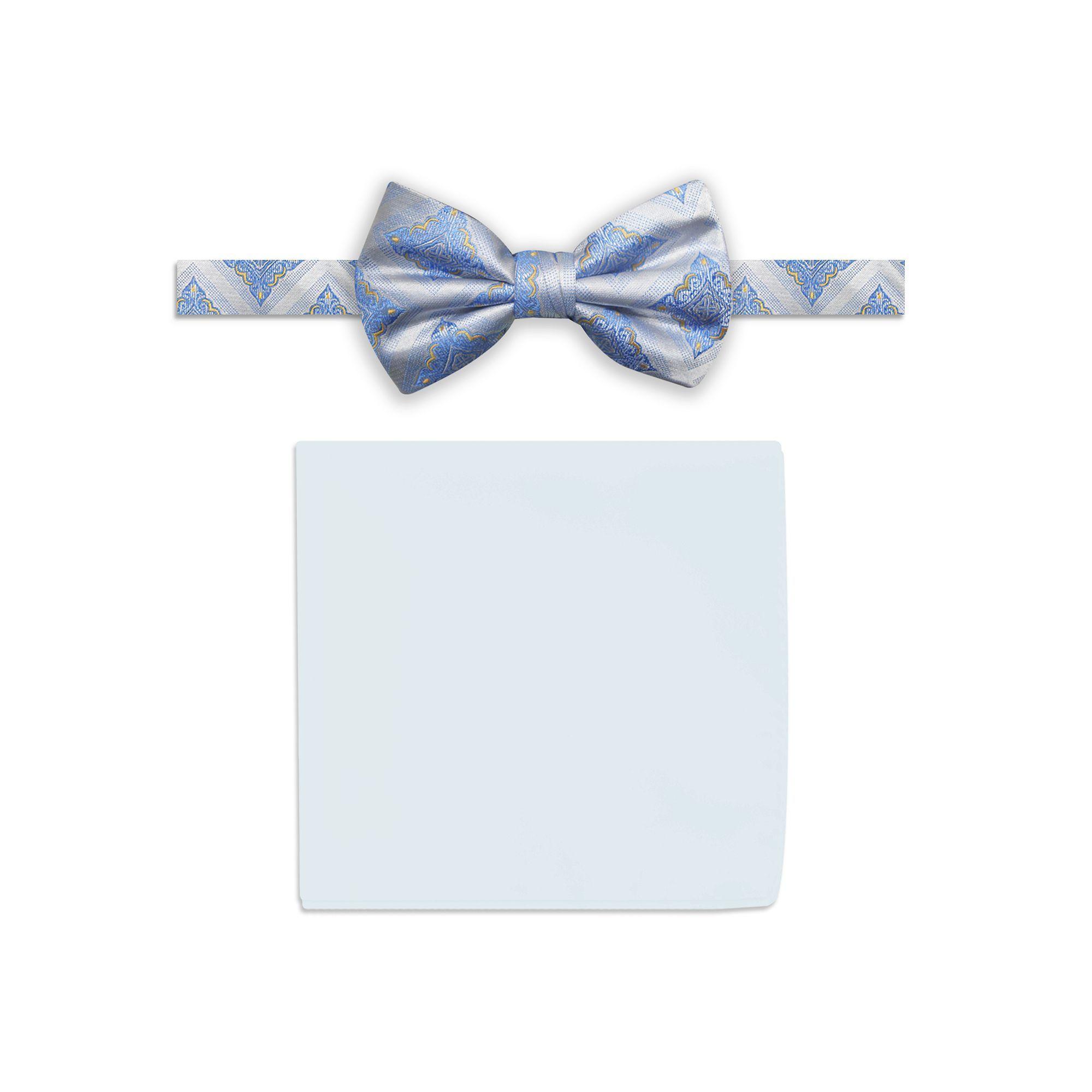 Men's Steve Harvey Medallion Pre-Tied Bow Tie & Solid Pocket Square, White