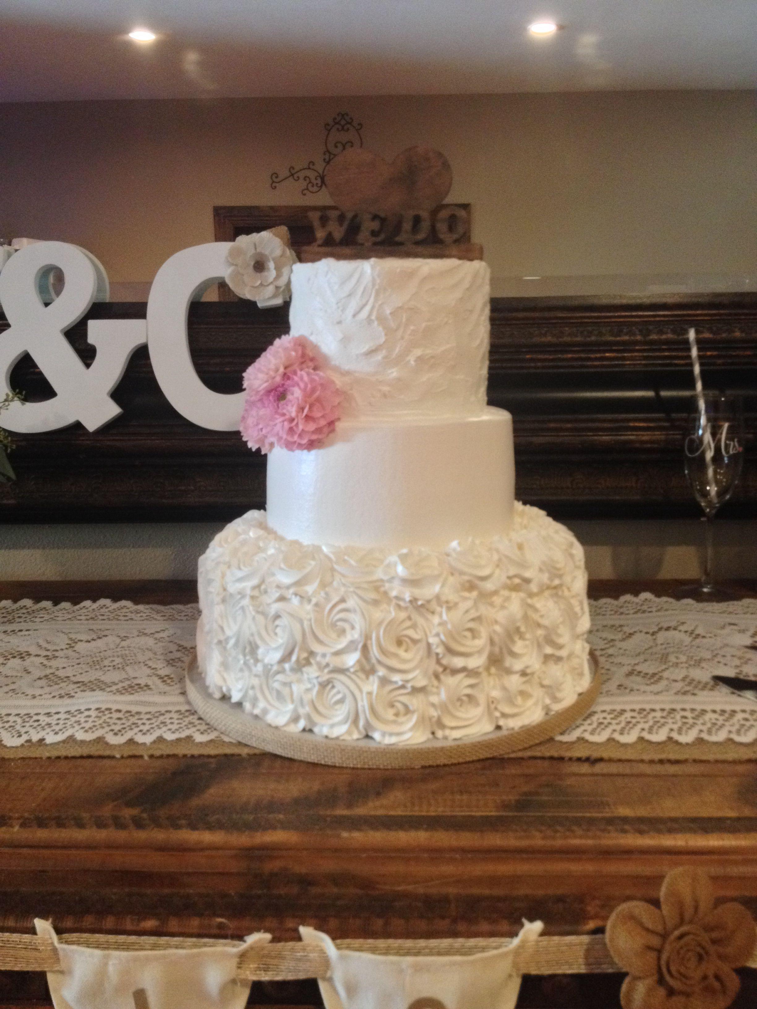 Wedding Cake Rosette Design Pink Flowers Simple Cake Wooden