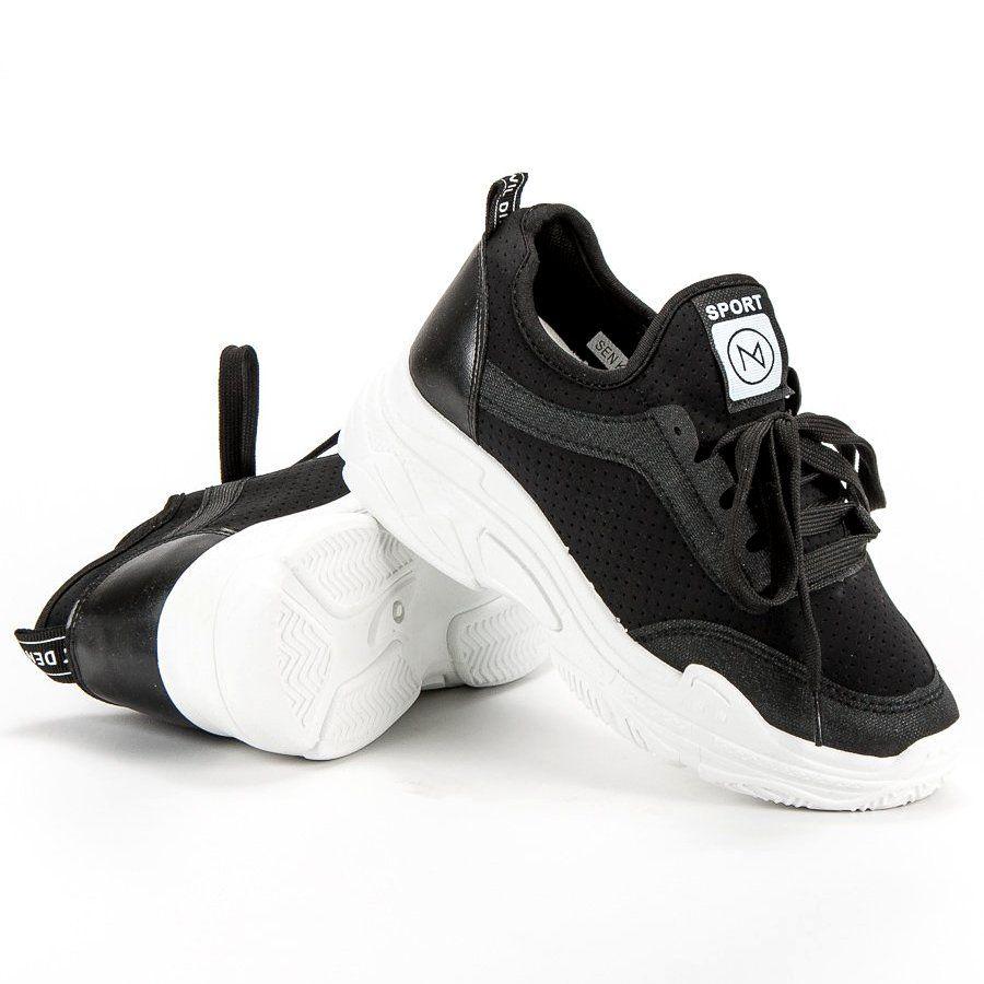 Mckeylor Buty Sportowe Czarne Black Shoes Soft Heels Plastic Heels