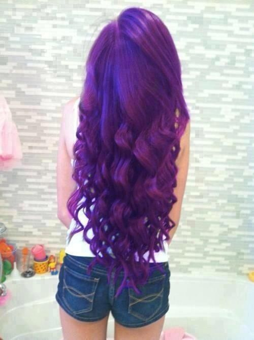 purple hair. Love the color but I would do the underneath of my hair not all of it
