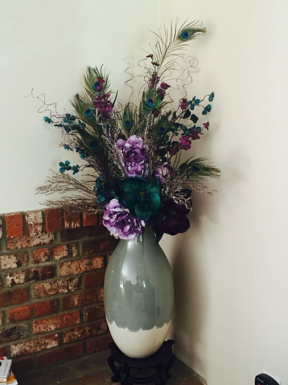 Silk Flowers Arrangement With Peacock Feathers Crafts Pinterest
