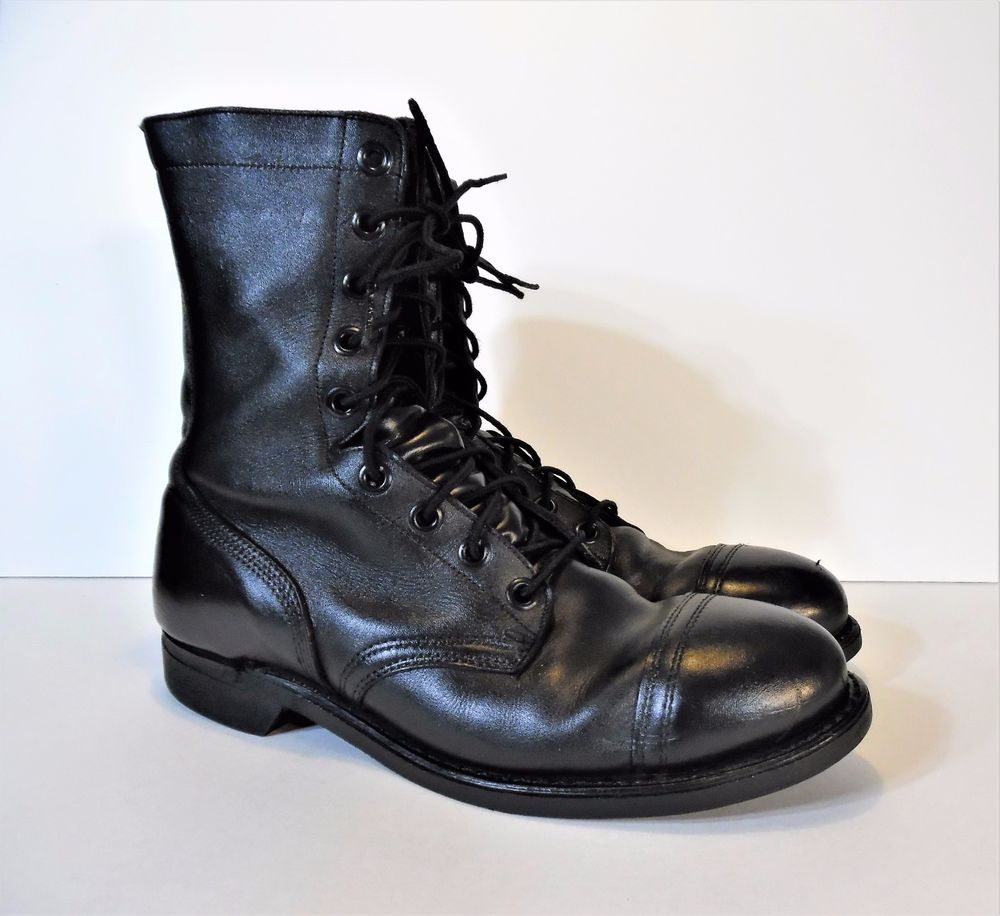 Black Leather Steel Toe Boots with
