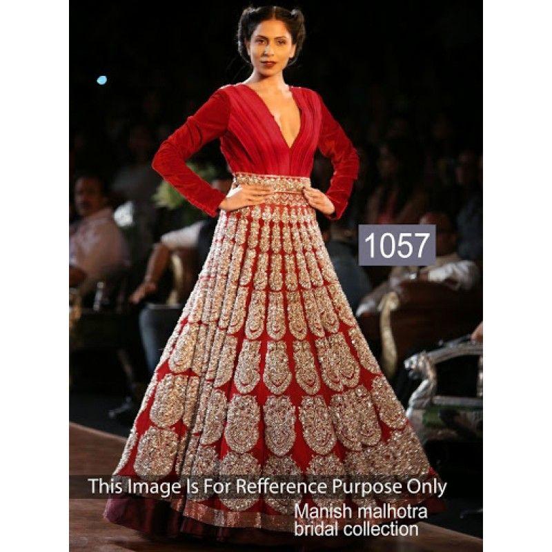 Bollywood Replica-Designer Glamorous Red Velvet Bridal Gown-1057 ...