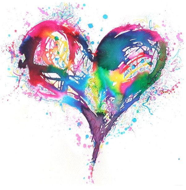 Splatter Paint Heart Watercolor Heart Tattoos Watercolor Heart