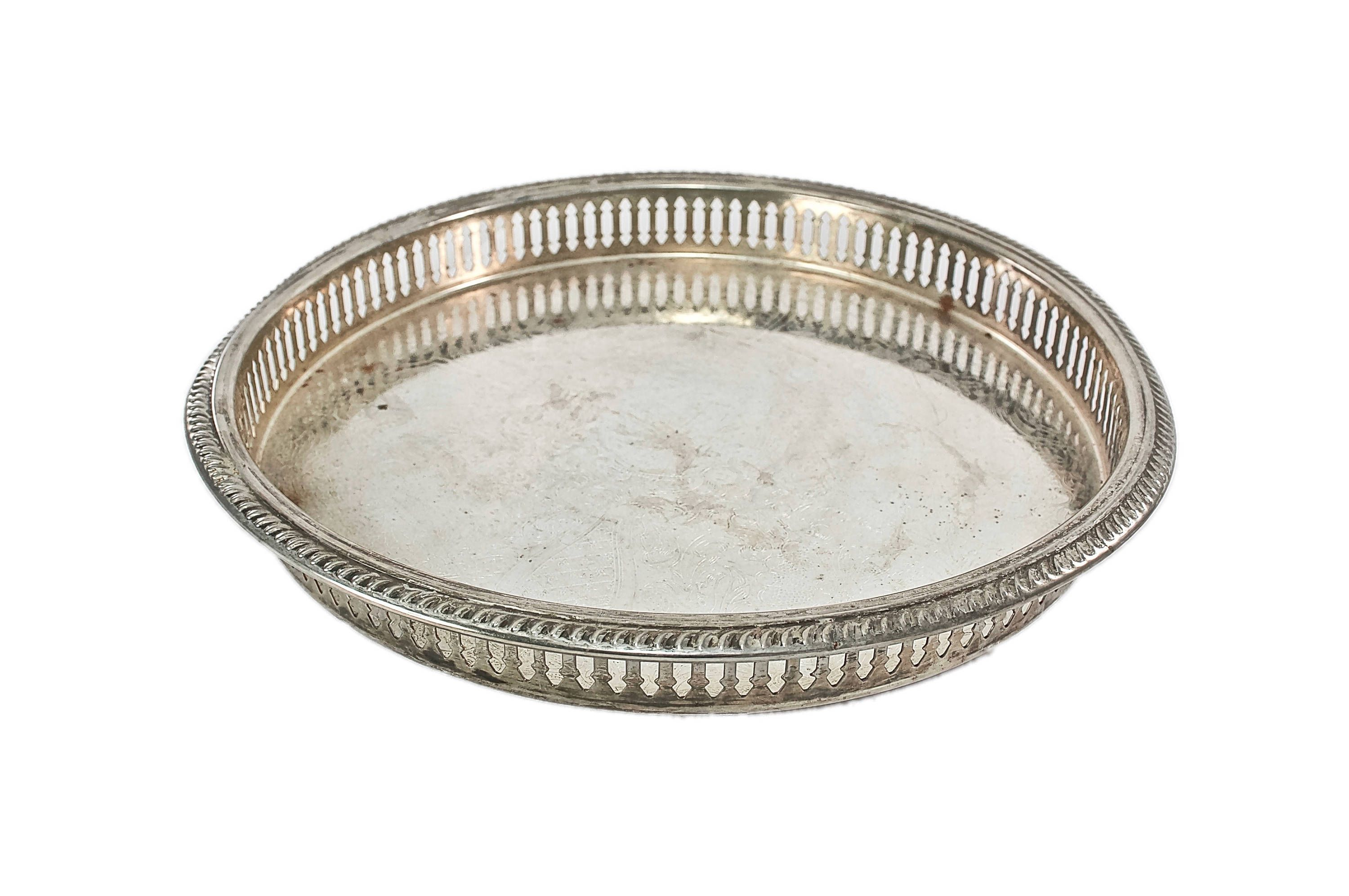 Vintage Silver Gallery Tray-Vintage Vanity Tray-Cocktail Tray-Jewelry  Tray-Bar
