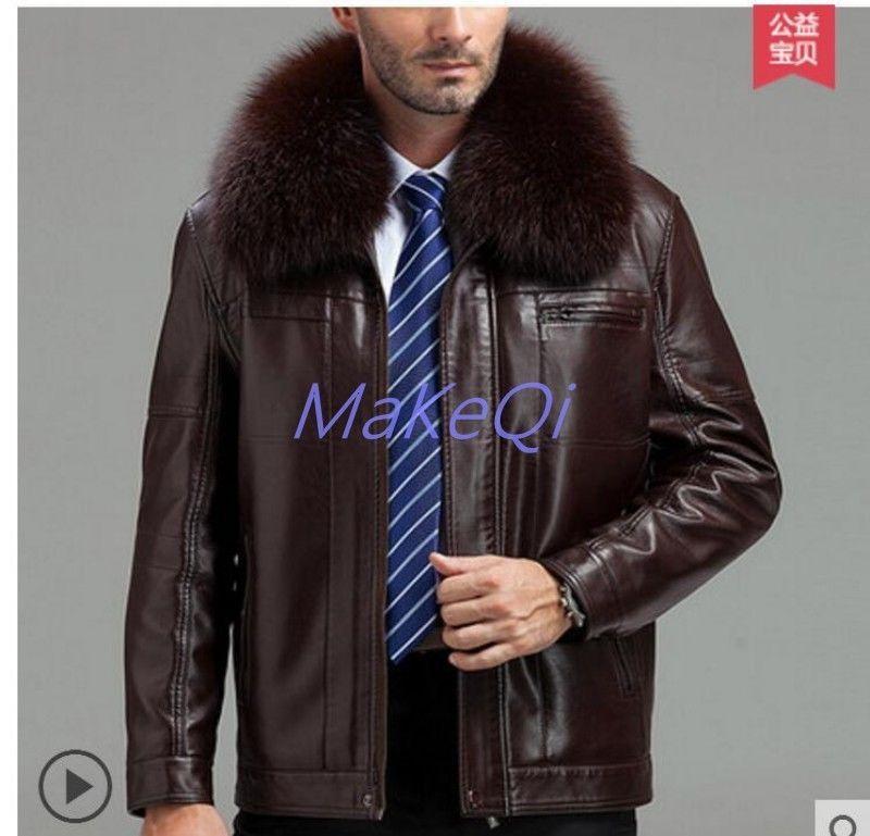 04eb1c721c37 Mens Fox Fur Collar Business Casual Leather Coat WindbreakerThicken Winter  Parka  fashion  clothing
