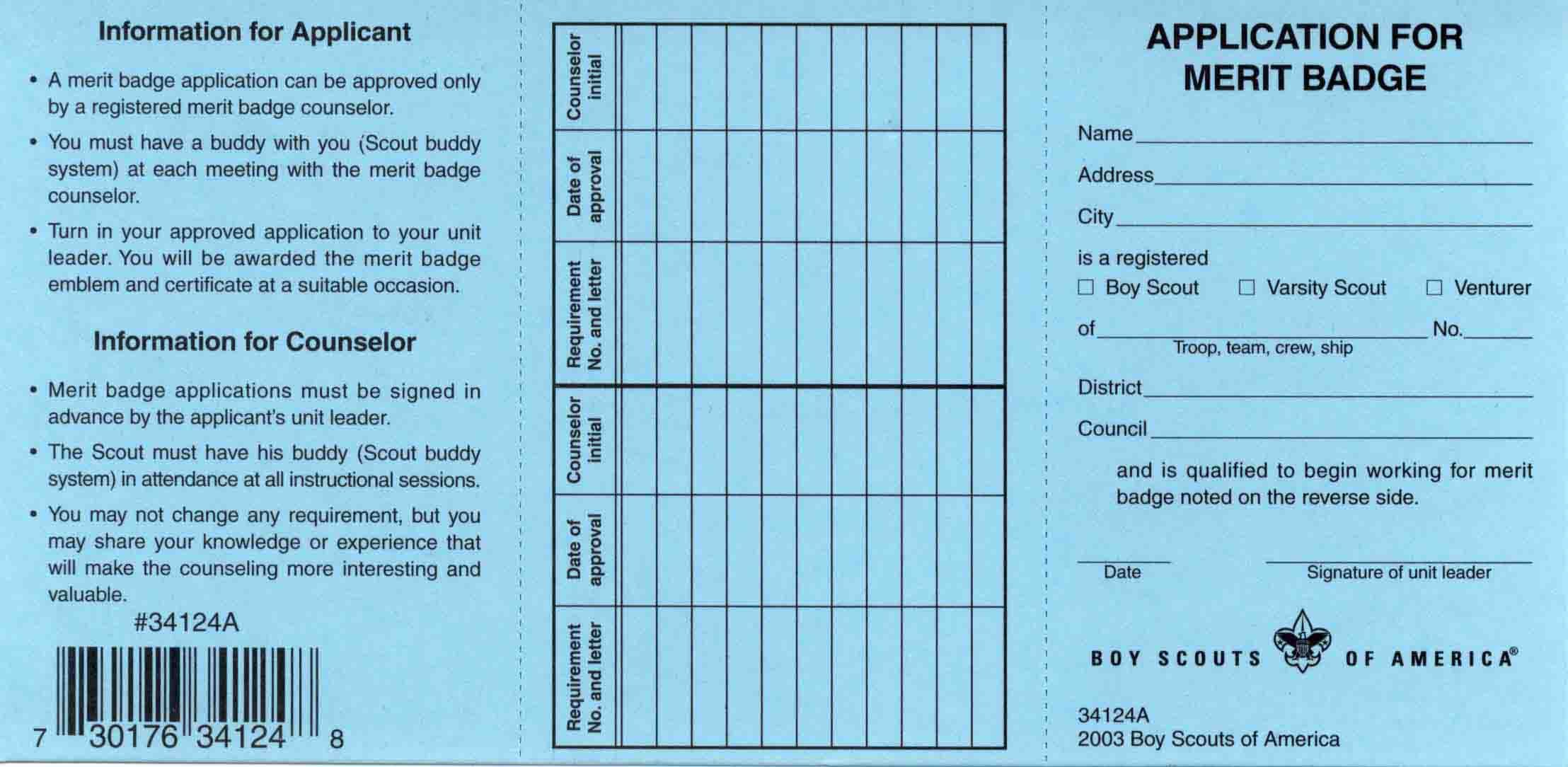 Boy Scout Printable Blue Card