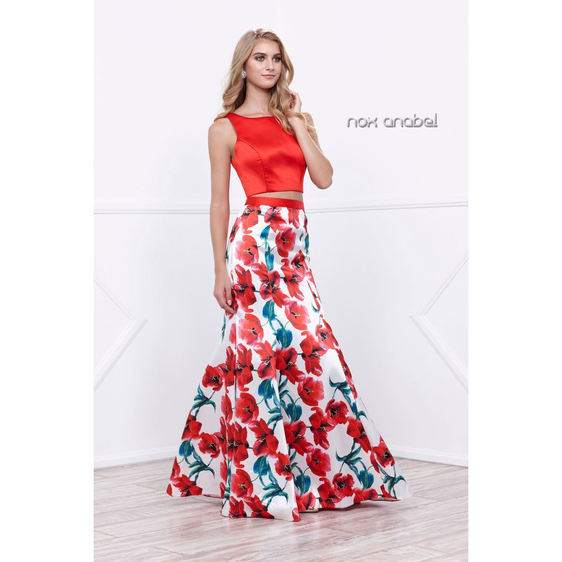 Twopiece long prom dress with floral print skirt pinterest