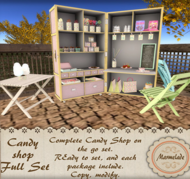 Marmelade - http://maps.secondlife.com/secondlife/Sweet%20Surprises/62/121/21