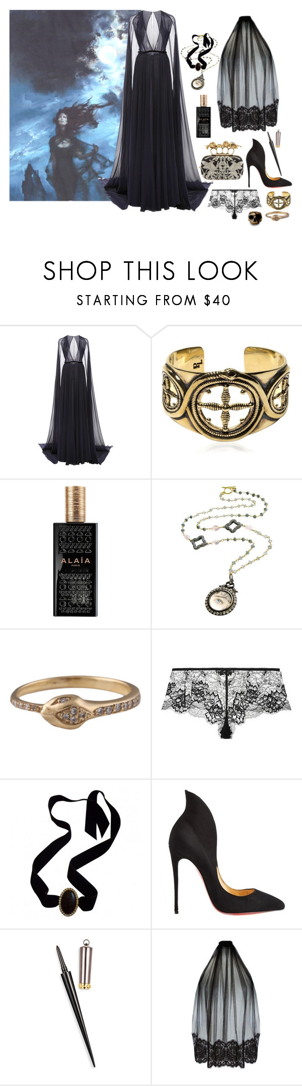 """""""How to wear a gothic romance novel"""" by ghoulnextdoor ❤ liked on Polyvore featuring Naeem Khan, Pamela Love, Alaïa, Yves Saint Laurent, Christian Louboutin and Loveday London"""