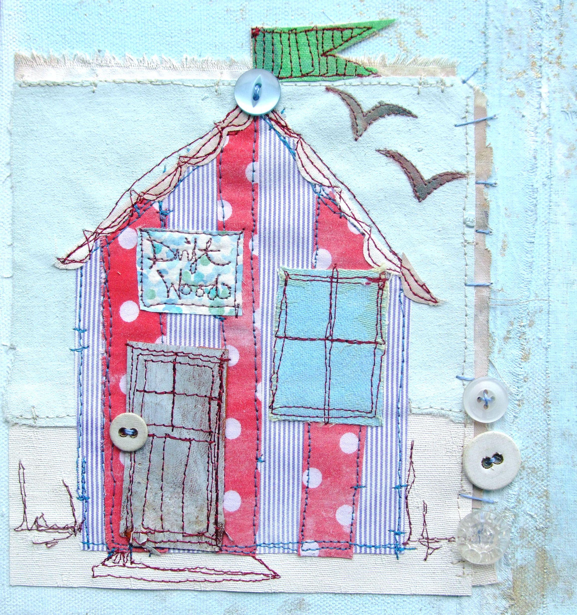 Beach Hut Machine Embroidery Design: Stripy-beach-hut. Pricilla Jones