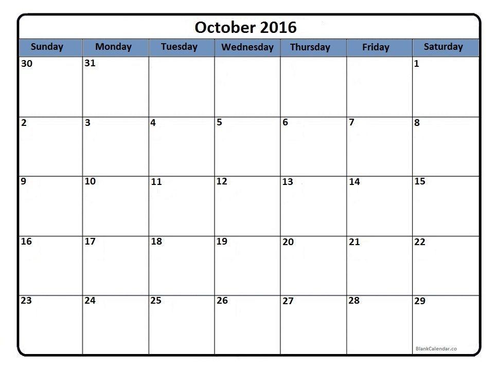 October 2016 printable calendar Printable calendars Pinterest - birthday calendar template