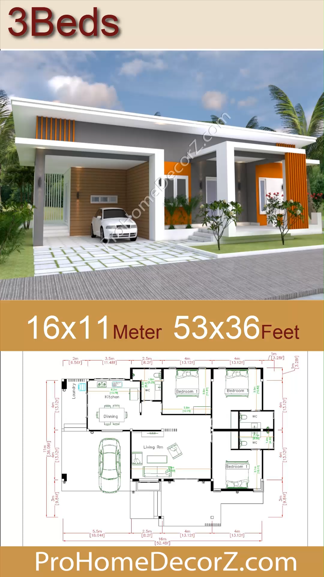 Photo of House Designs Plans 16×11 Meter 53×36 Feet 3 Beds