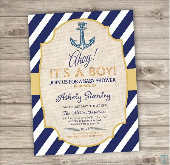 nautical baby shower invitations navy gold ahoy summer por cardmint