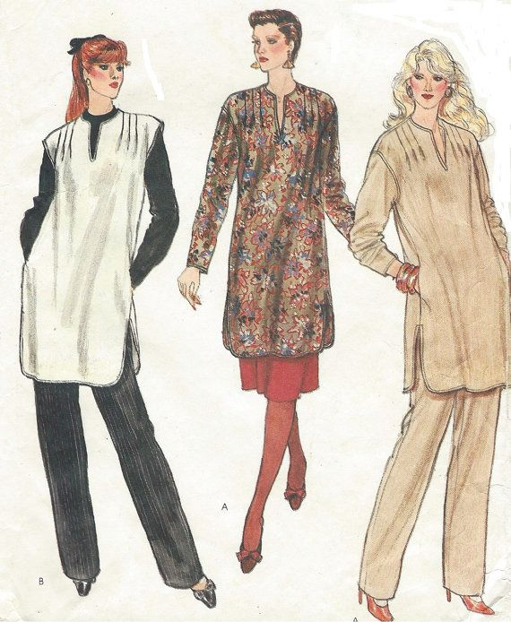 90s Womens Pullover Tunic Skirt & Pants Vogue by CloesCloset