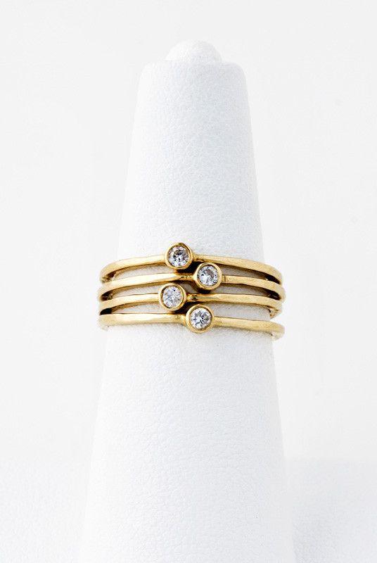 14K LARGE 1 DIAMOND BEZEL HAMMERED WAIF – Jacquie Aiche